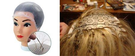 Мелирование коротких и средних волос с помощью шапочки