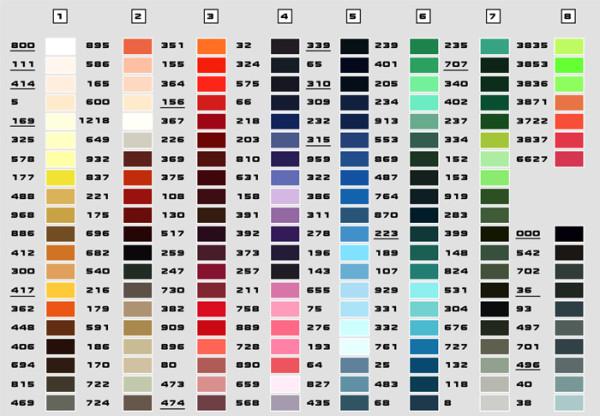 На фото - возможные оттенки красок, но далеко не все