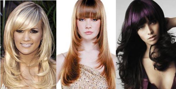 Вечерние прически на длинных волосах с челкой фото