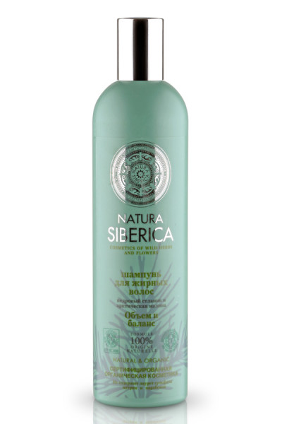 На фото – сертифицированный натуральный шампунь для мытья жирных волос от «Natura Siberica».