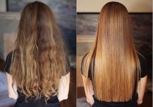 На фото – волосы до и после применения кератина