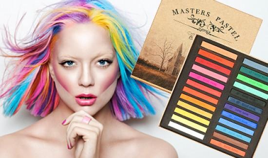 На фото мелки для волос, позволяющие активно и безопасно экспериментировать над внешностью
