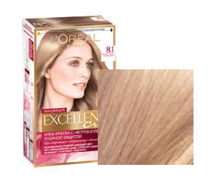 На фото показана упаковка крем-краски Экселанс светло-русого пепельного оттенка.