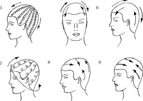 На фото показаны направления, в которых нужно проводить массаж.