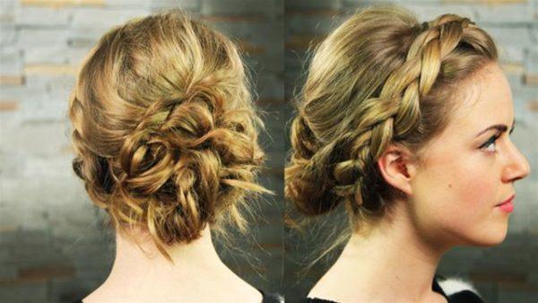На фото представлен пример плетения по кругу головы с пучком сзади