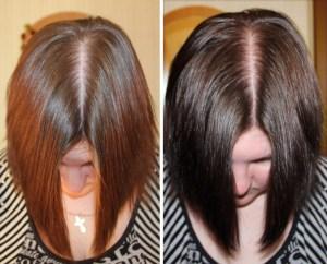 На фото представлено окрашивание волос чаем до и после.