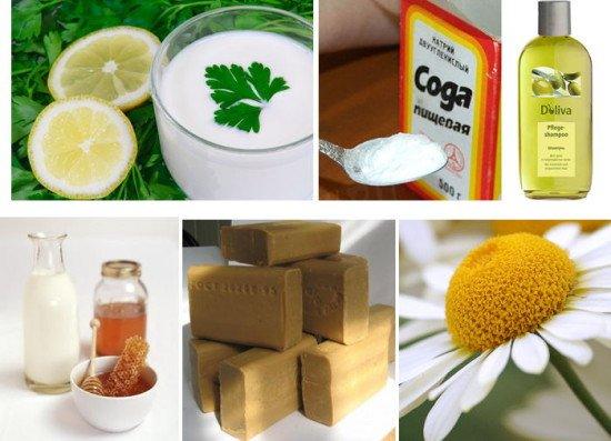 На фото продукты, способные удалить красящий пигмент химической краски