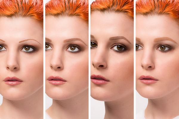 На фото видно, как форма и ширина бровей влияет на выражение лица.