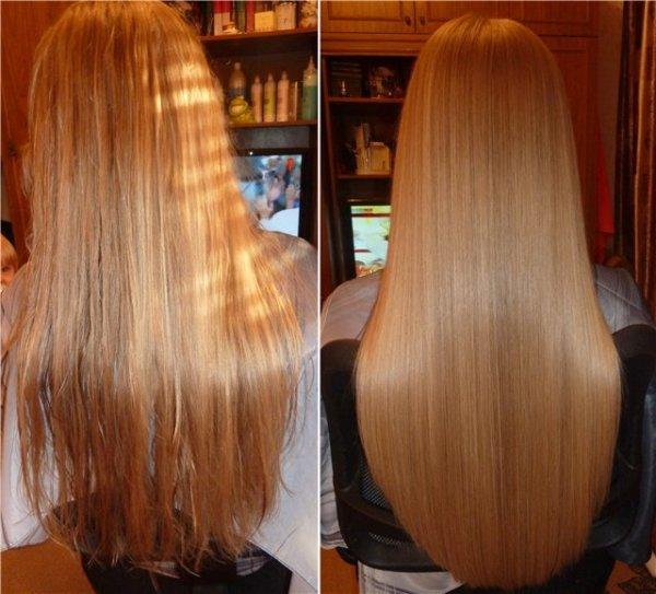 На фото: желатиновое выпрямление волос