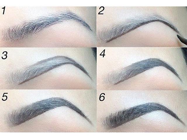 Как правильно красить брови карандашом и тенями пошагово фото