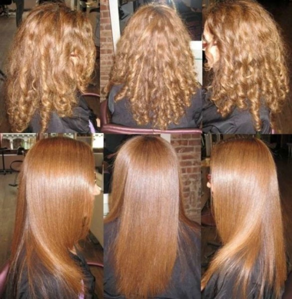 Наглядный пример выпрямления кудрявых волос утюжком