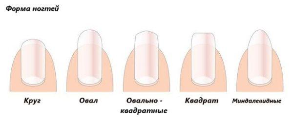 Наиболее популярные формы ногтевой пластины