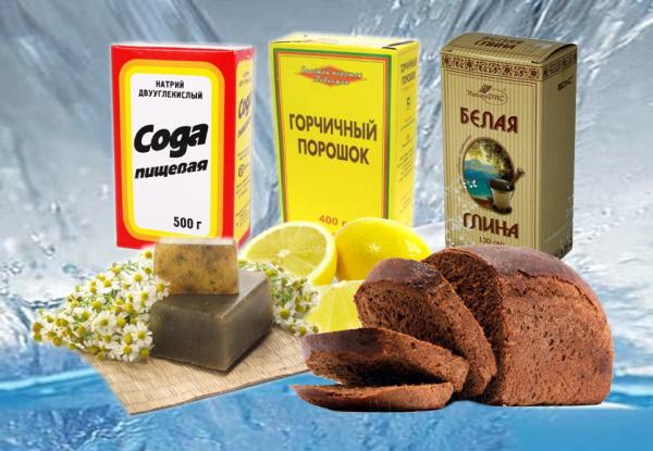 Наиболее популярные продукты для мытья волос: сода, черный хлеб, горчичный порошок и белая глина