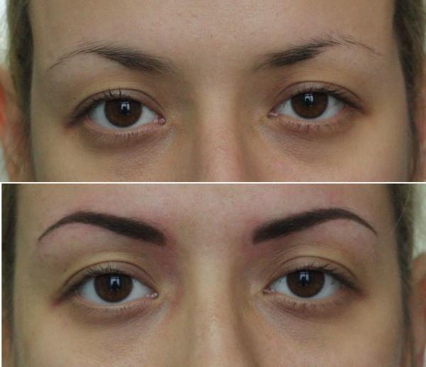 Наращивание бровей, волосковым методом, до и после процедуры