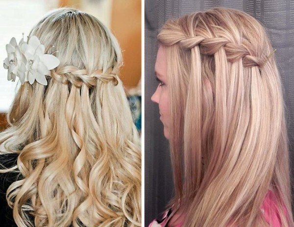 Однорядный «водопад» отлично выглядит на волосах различной длины и цвета