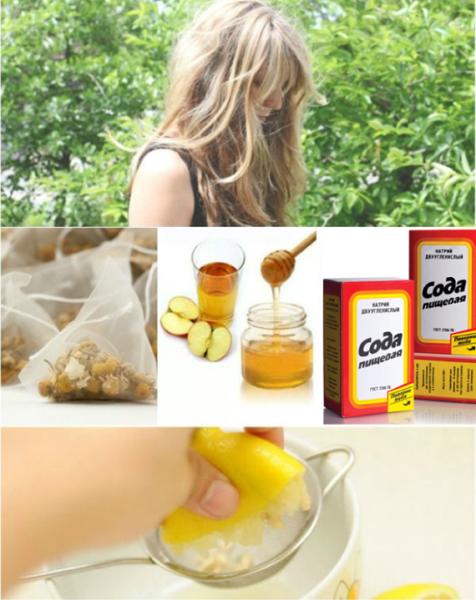 Осветление медом, соком лимона, отваром ромашки
