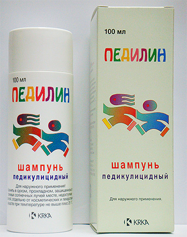 Педилин, включающий в себя 2 компонента против вшей.
