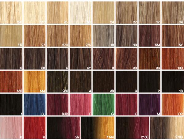 Перед тем, как накрутить искусственные волосы с помощью плойки, убедитесь, что они имеют пометку «termo», например, как пряди Hivision (фото палитры)