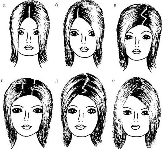 По-разному делаем пробор на гладких волосах.