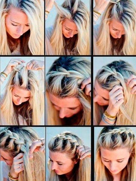 Пошаговая фото – инструкция создания плетения у лица в виде «колоска»