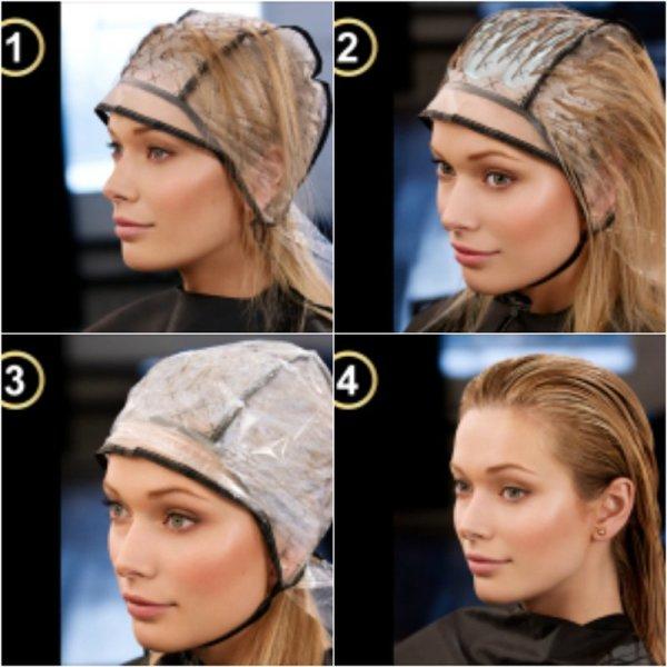 Последовательность проведения процедуры осветления через специальную парикмахерскую шапочку