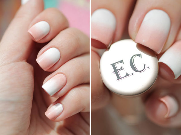 Пример градиента на ногтях в нежных цветах с плавным переходом