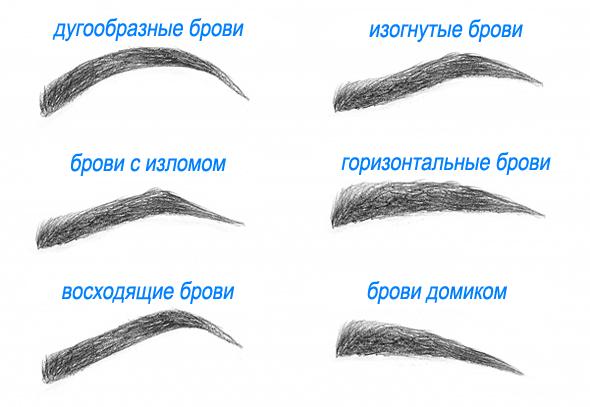 Примеры форм бровей.