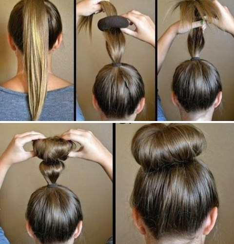 Процедура завивки волос бубликом из носка