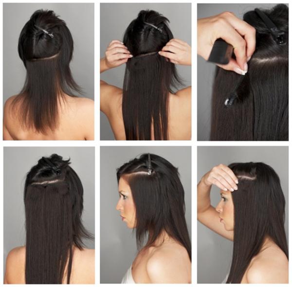 Процесс крепления прядок на заколках для распущенных волос.