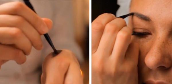 Процесс подбора цвета и наметки формы будущих бровей.