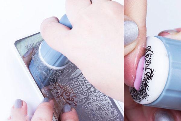 Процесс штамповки рисунка на ногтевую пластину
