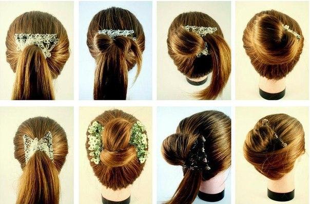 Причёска с гребешком для волос фото