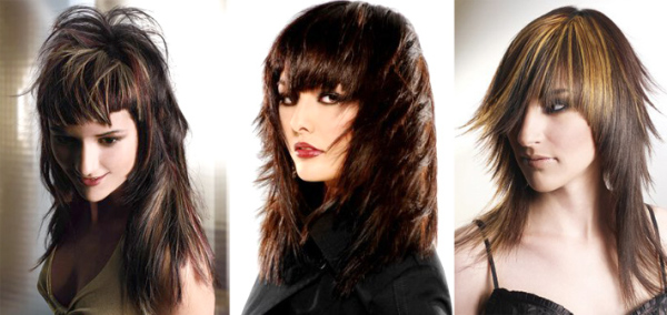 Разнообразные варианты каскада на темных волосах