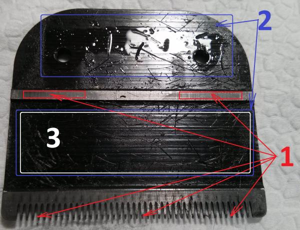 Регулировка ножей машинки для стрижки волос начинается со смазки деталей (1 – места нанесения масла, 2 – части, не требующие обработки, 3- часть, которая всегда должна оставаться чистой и сухой)