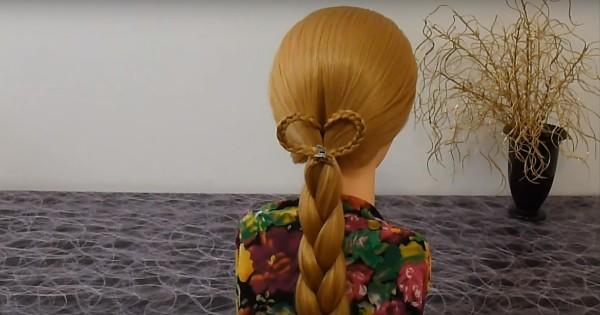 С помощью такого сердечка можно разнообразить обычную косу или хвост