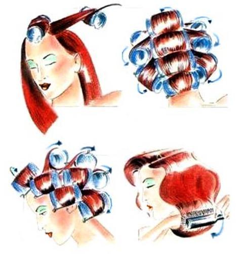Схема накручивания волос на бигуди: челка – макушка – затылок – виски.