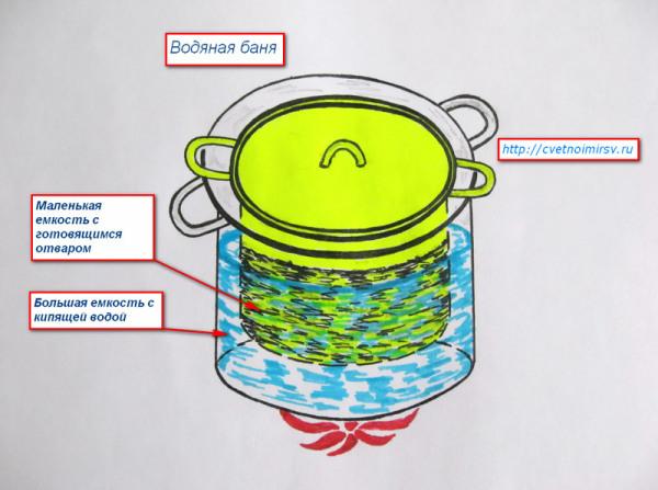 Схема водяной бани для крапивного раствора.