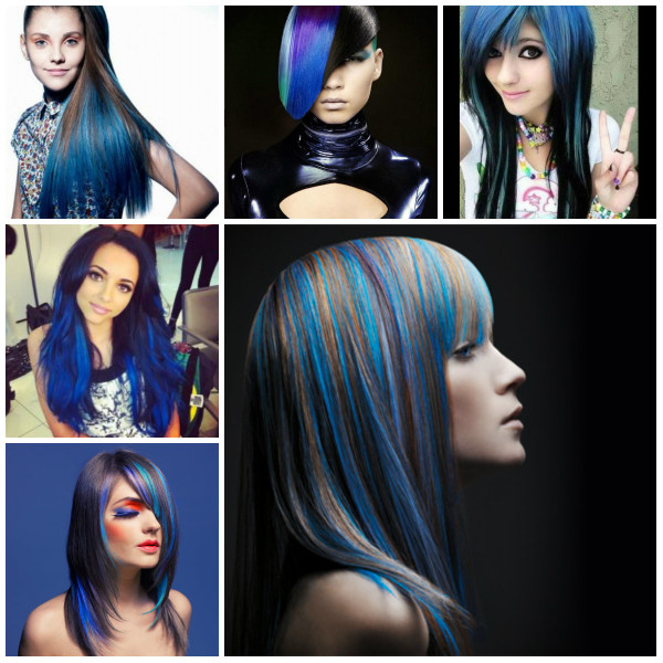 Синие пряди на темных волосах прекрасно подчеркнут оригинальность вашего образа