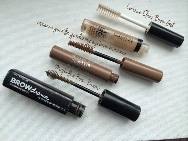 Сравнение цветных тушей для бровей (Maybelline Brow Drama, Essence guerilla gardening eyebrow mascara, Catrice Clear Brow Gel)
