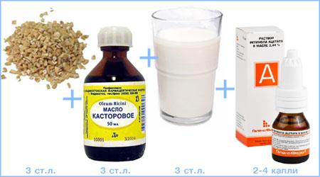 Супер рецепт для тонких локонов (овсянка, касторка, кефир, витамин А)