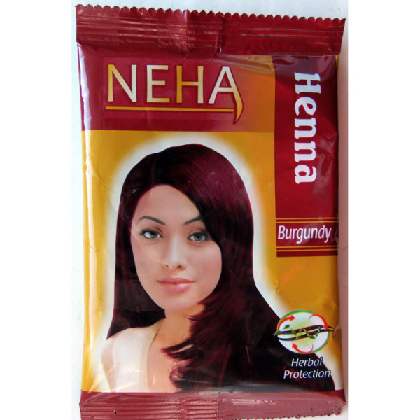 Так выглядит индийская хна цвета бургунд.