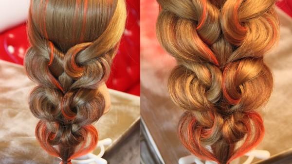 Такая прическа коса сердечками прекрасно подойдет для особого случая и сможет наилучшим образом подчеркнуть вашу индивидуальность