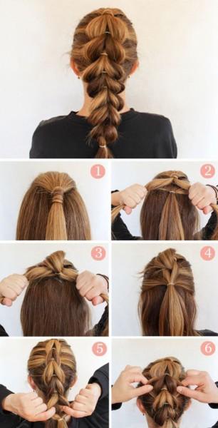 Таким способом создается коса перевернутые сердечки