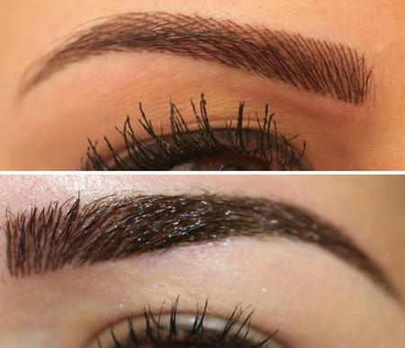 Татуаж волосковым методом смотрится более натурально (верхнее фото).