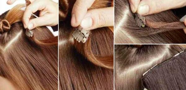Техника закрепления волос на клипсах