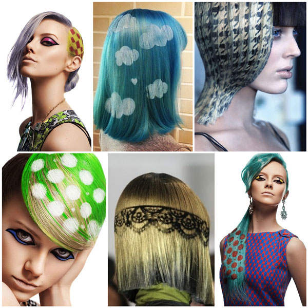 Технология Crazy colors легла в основу создания графических рисунков на волосах с помощью трафаретов
