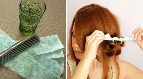 Тряпочки и салфетки – старый «бабушкин» метод, который подскажет, как сделать мелкие кудри на длинные волосы