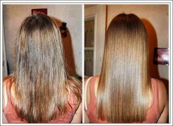 Волосы до и после применения маски