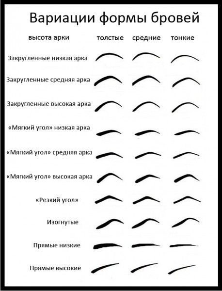 Возможные формы бровей